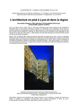 Conférence - L'architecture en pisé à Lyon et dans la région