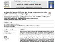 Nouvelle publication: Mechanical behaviour of different type of shear band connections being used in reconstruction housing in Nepal
