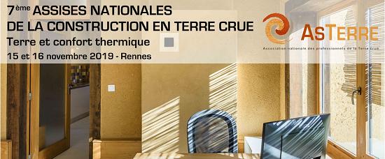 7èmes assises nationales de la construction en terre crue, 15 et 16 novembre, Rennes